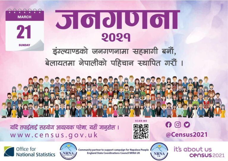 """बेलायतमा हुने २०२१ को जनगणनमा इथिनिक ग्रुप अन्तर्गत""""नेपाली"""" लेखेर फर्म भर्न सबै नेपाली संघ-संस्थाहरुको अपिल!!!"""